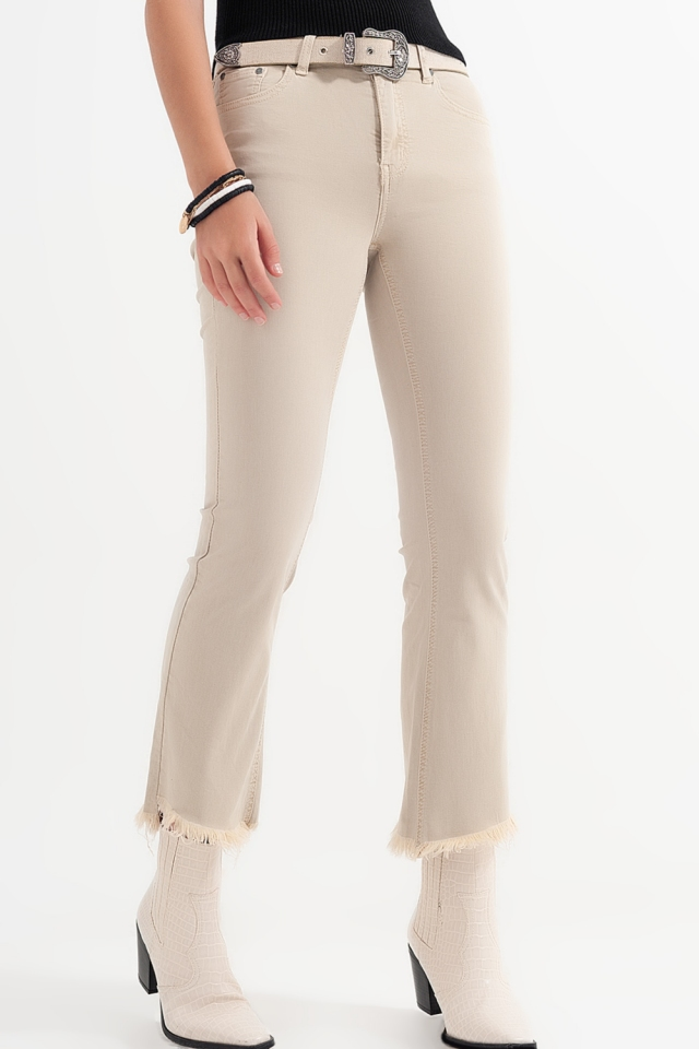 straight Pants in beige with wide ankles