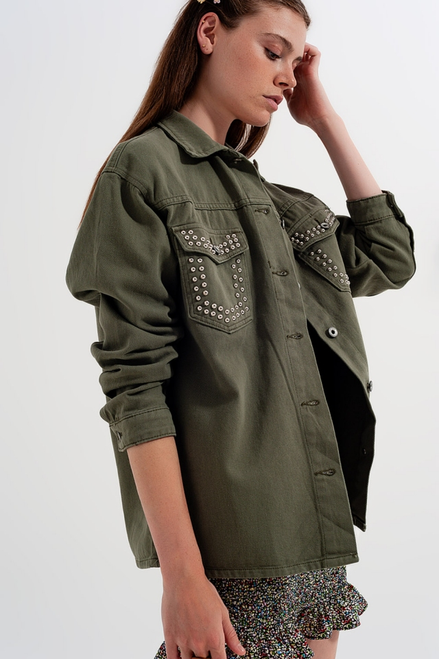 Overshirt with pockets in green