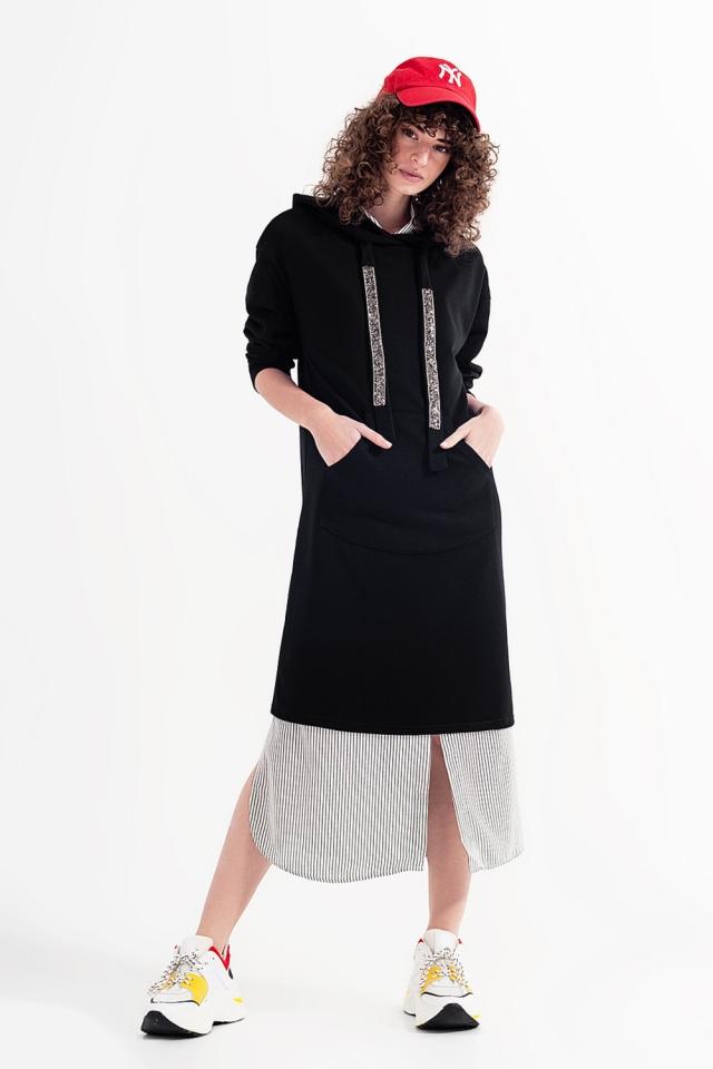 Hoodie dress in black