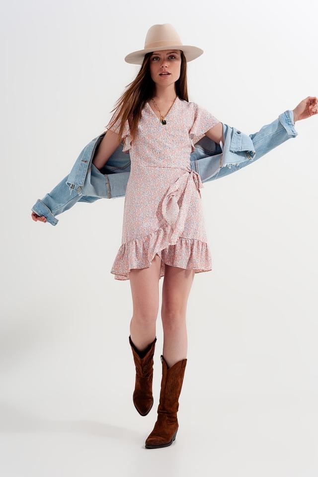 Mini wrap dress with frill hem in pink print