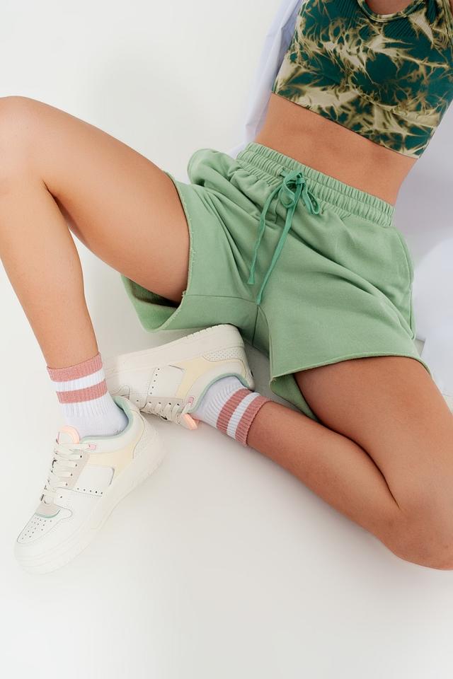 kürzere Jersey-Shorts in Grün