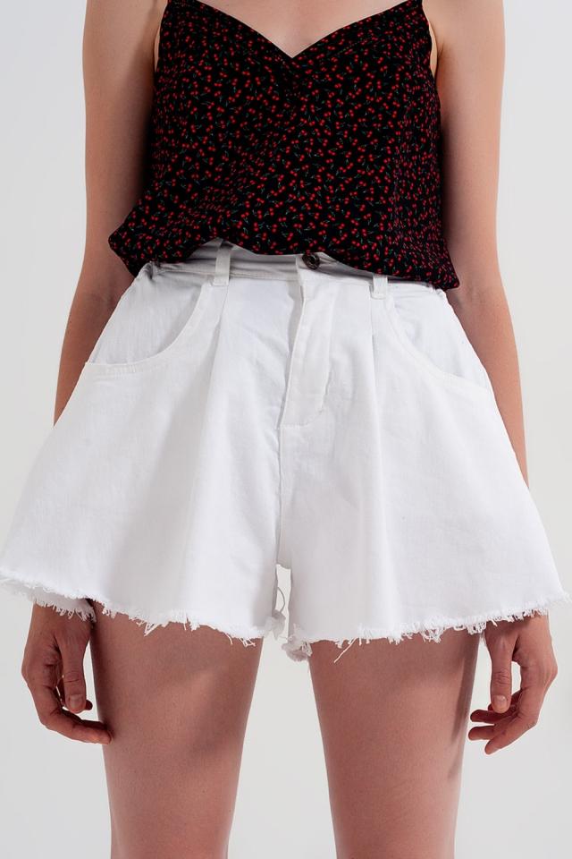 Gerippte Jeansshorts in Weiß in A-Linie
