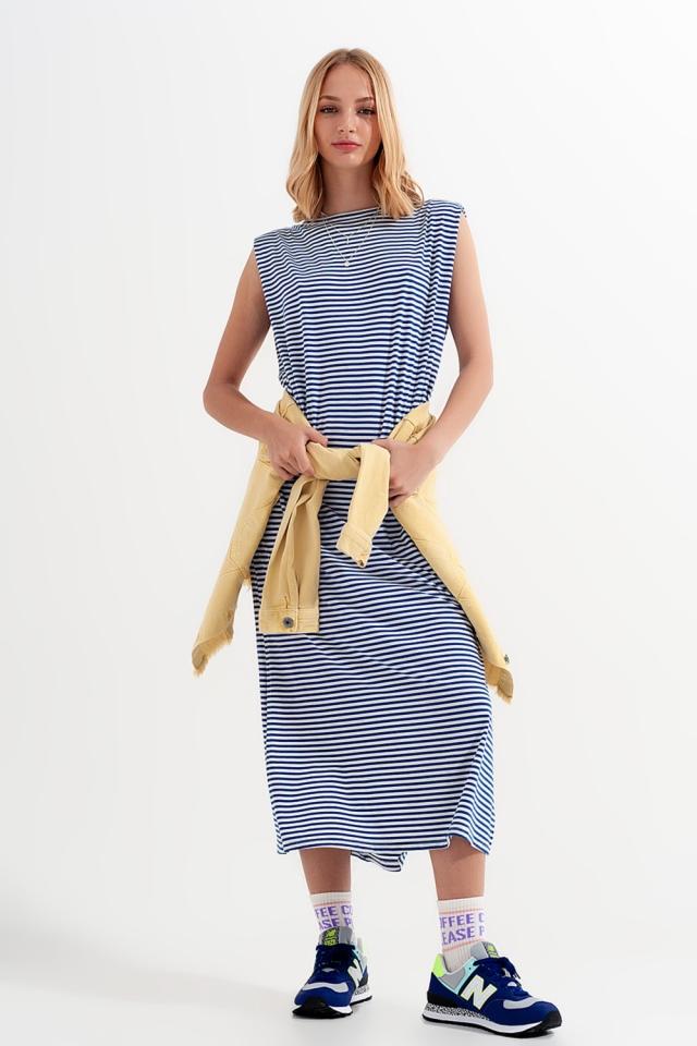Schlichtes Jerseykleid in Marineblau mit Streifen
