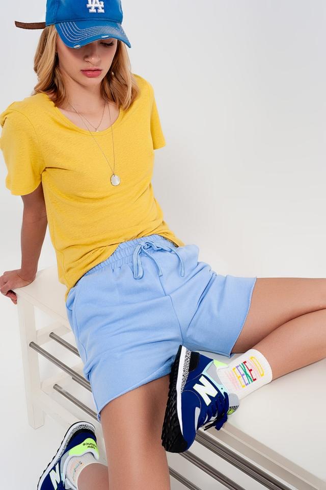 Co-ord jersey slim shorts shorter length in blue