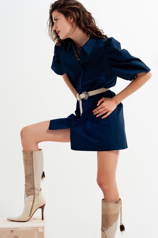 Smock mini shirt dress in navy