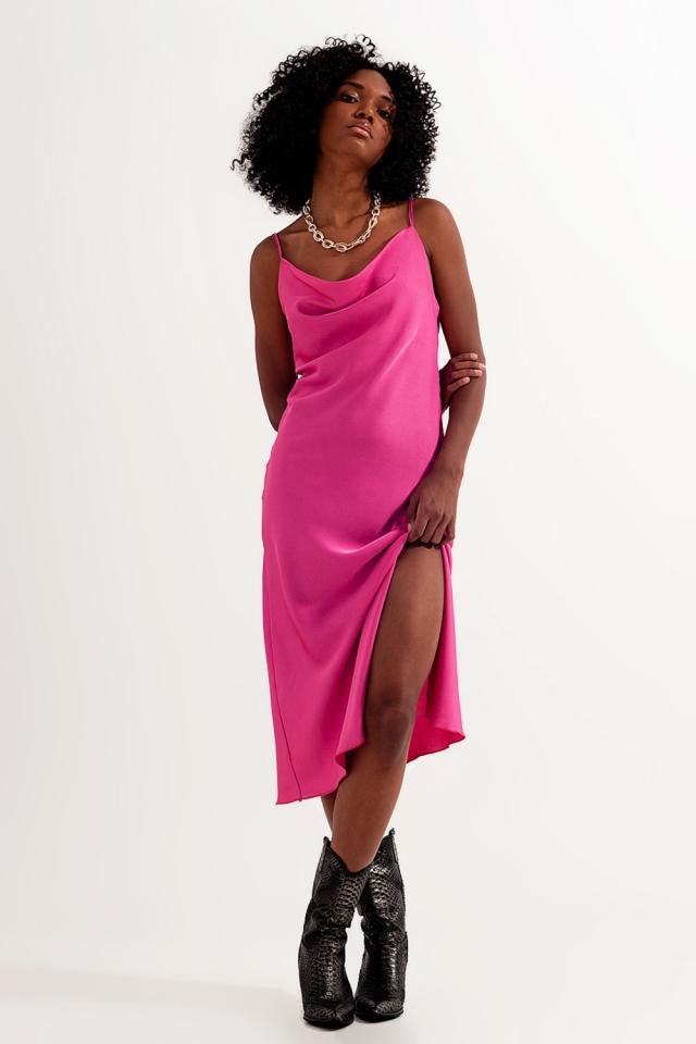 Satin-Minikleid in Pink mit Camisole-Trägern
