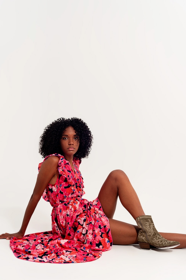 Langes Kleid mit Blumen und rosa Multicolors gedruckt