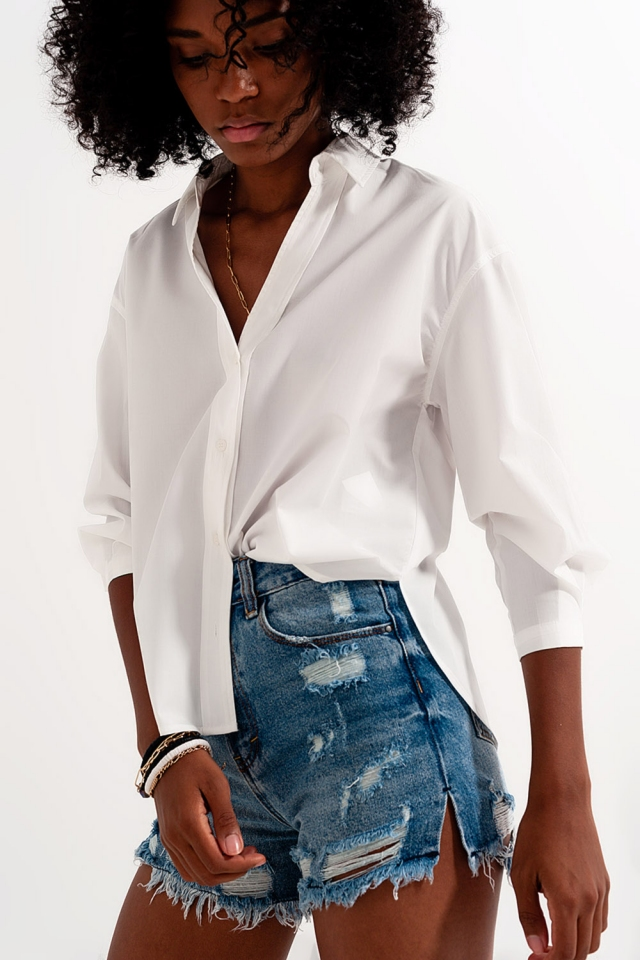 Revere collar shirt in white