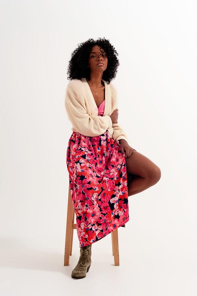 Hot pink floral print skirt