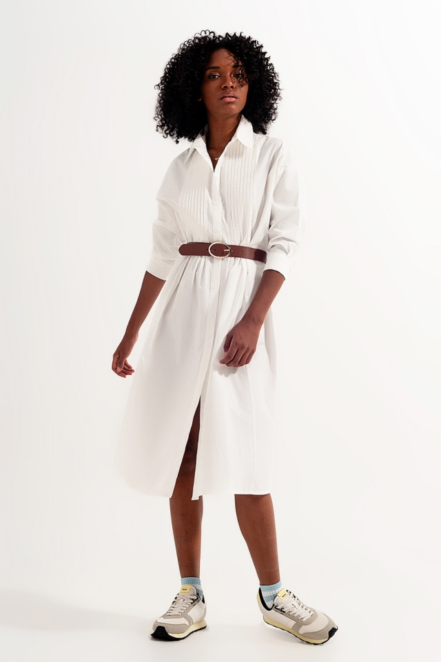 Cotton midi shirt dress in white