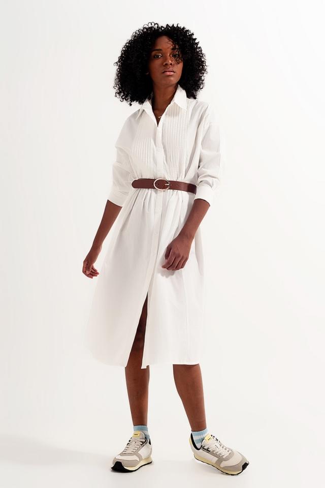 Midi-Hemdkleid aus Bio-Baumwolle in Weiß