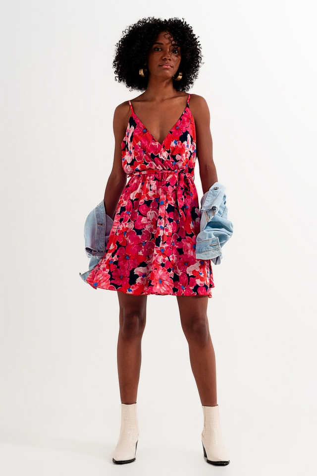 Hot pink short dress with flower print and straps