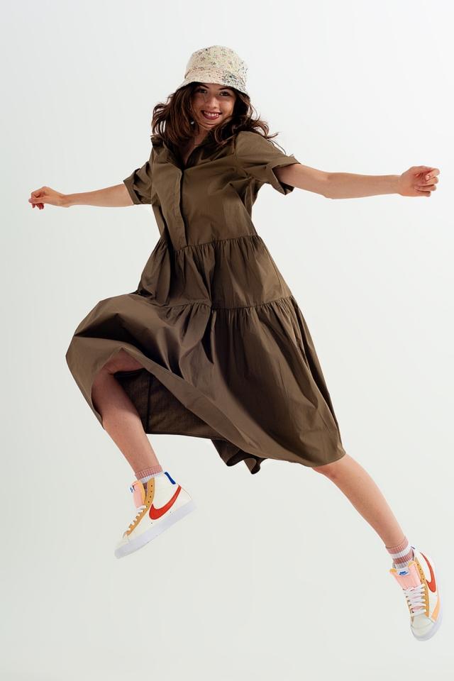 Shirt buttoned dress poplin short sleeve in khaki