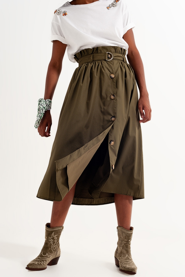 Khaki skirt with buttoned design and belt