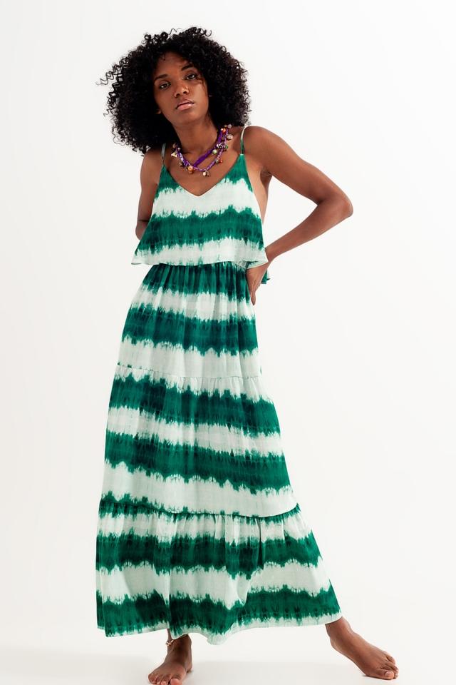 Strandkleid mit Batikmuster in grün