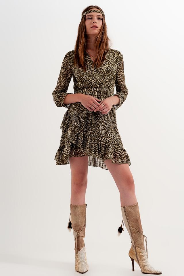 kleid mit Wickeldesign vorne Gürtel und kräftigem leuchtendem Print