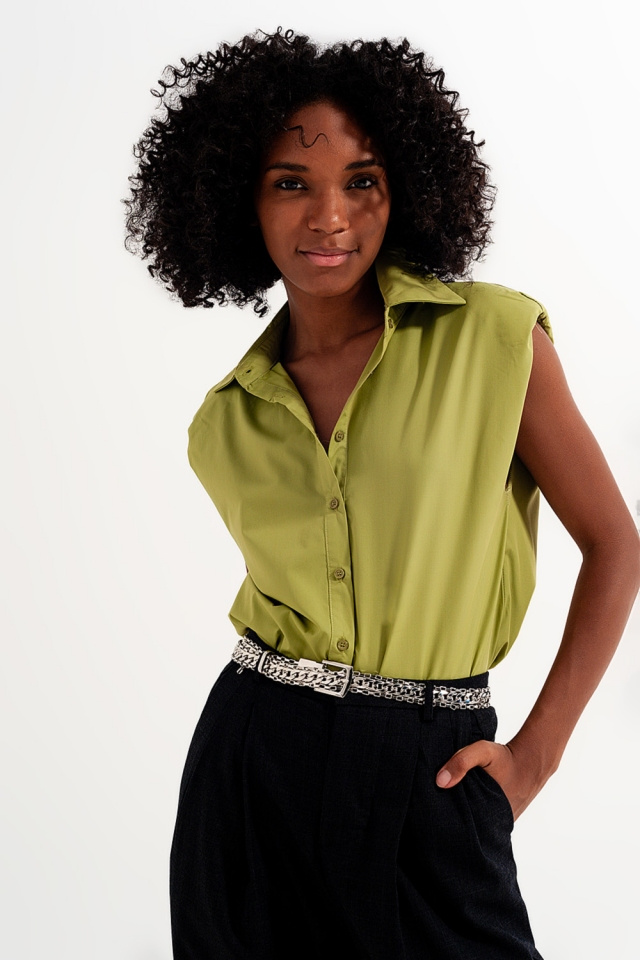 Button down tank top with shoulder pads in green