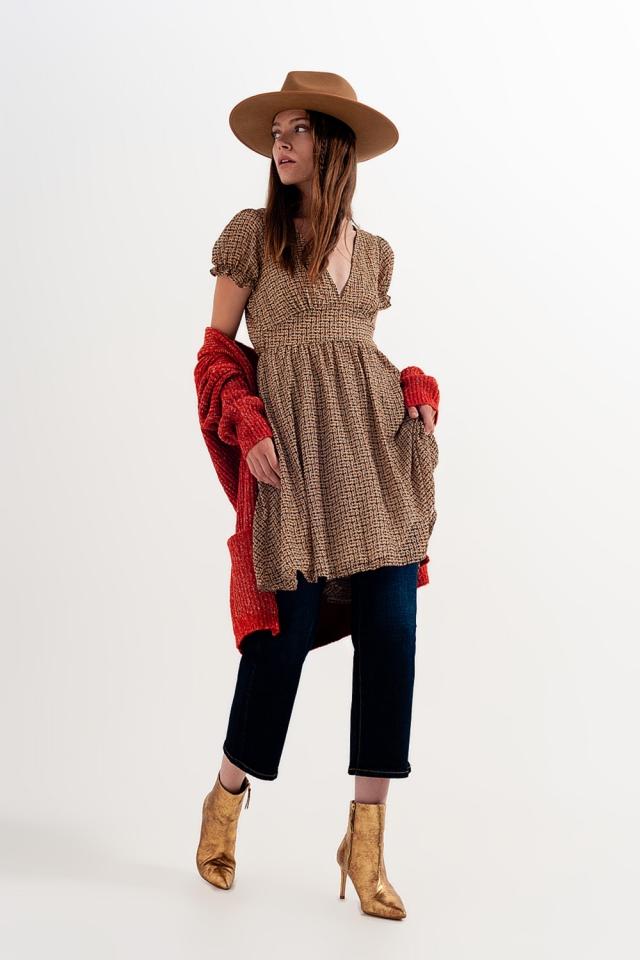 Mini-Hängerkleid in Creme kariert mit Wickeldesign