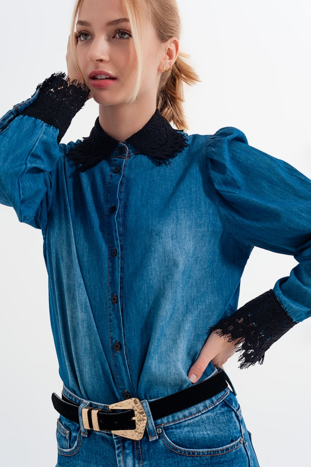Blue denim shirt with puff sleeves and lace details