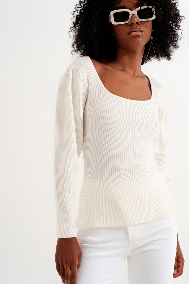 Pullover in Creme mit Sparrenmuster