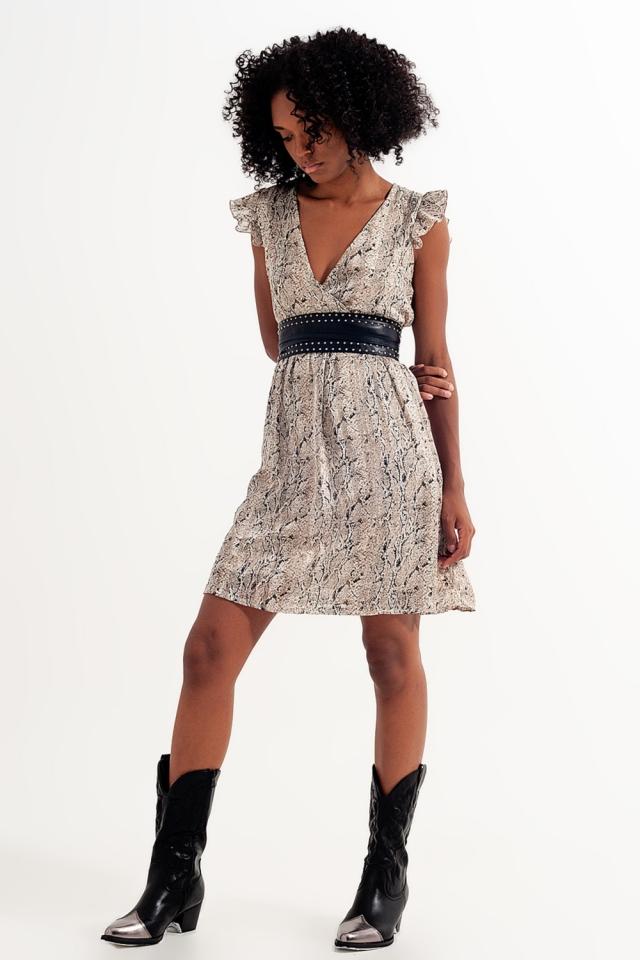 Belted snakeskin mini dress