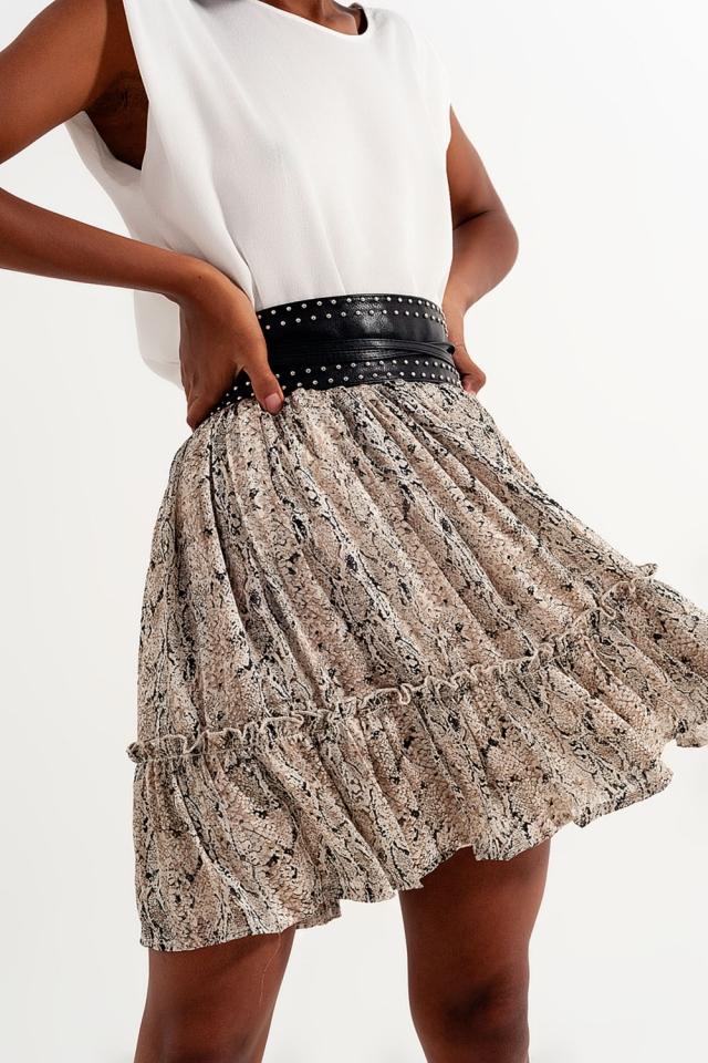 Mini skirt with snake print