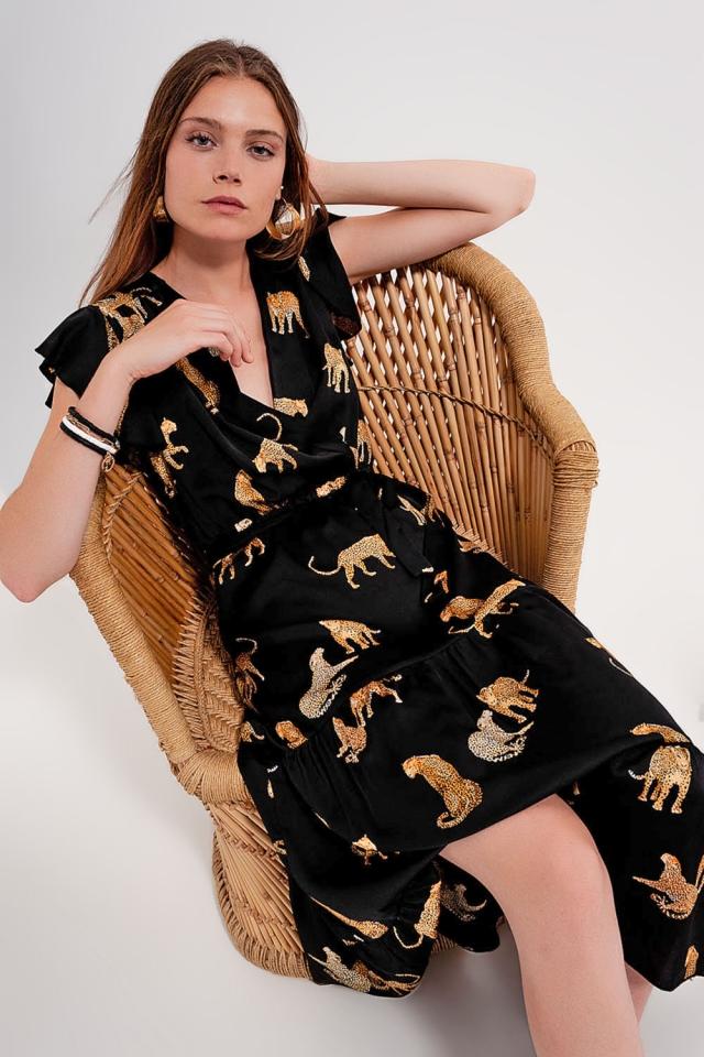 Wickelkleid mit kurzen Ärmeln und Tigerprint