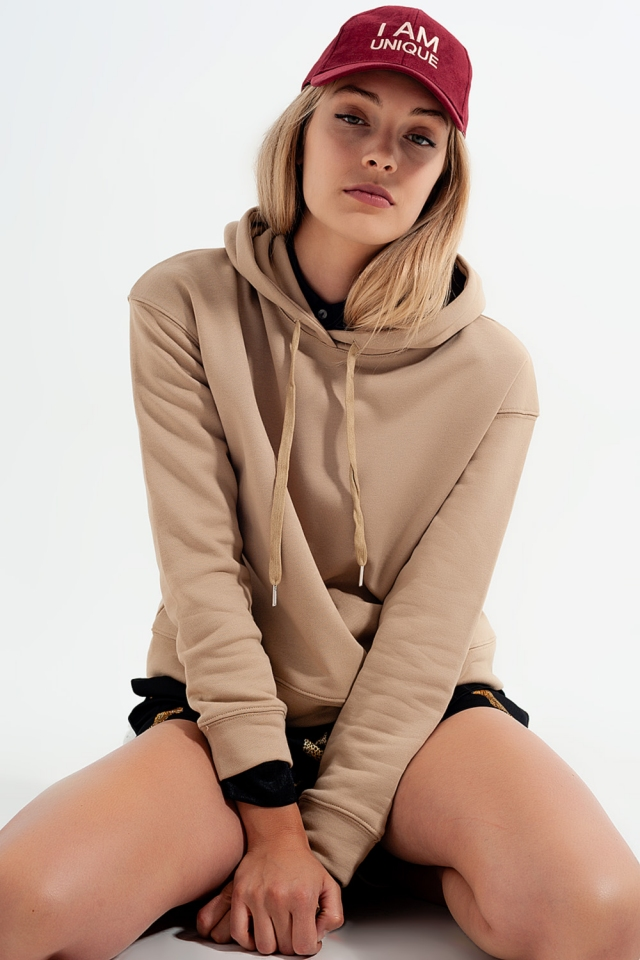 hooded sweatshirt in beige