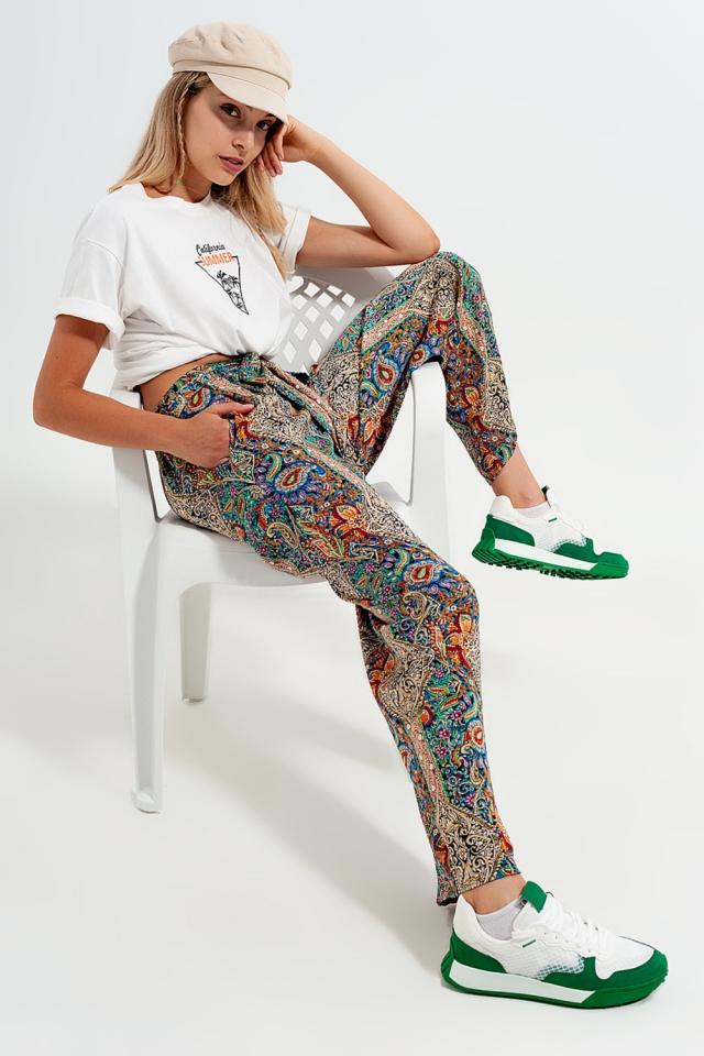 Jacquard satin wide leg trouser in green