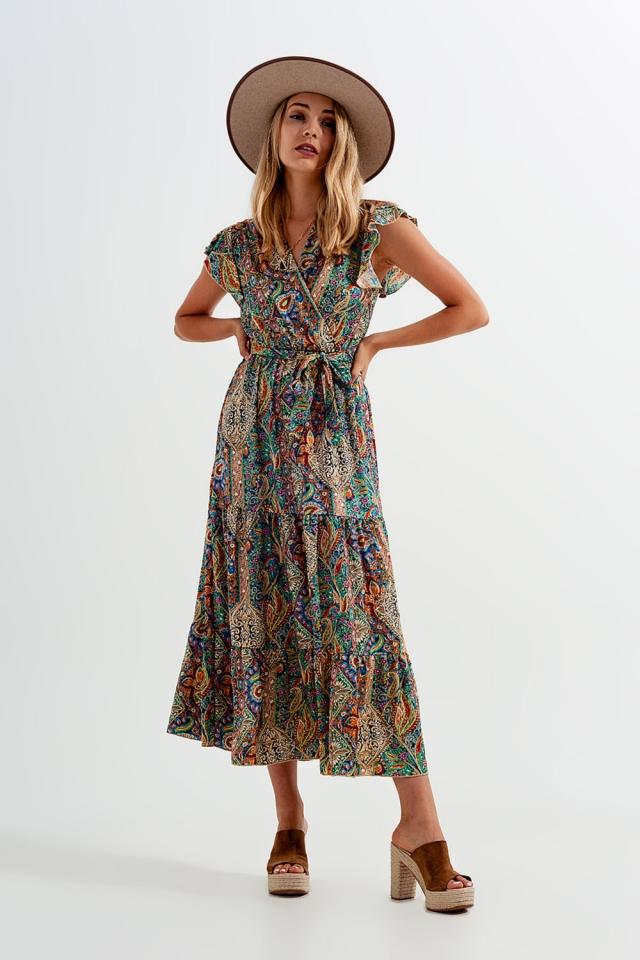 Midaxi-Kleid im Wickeldesign mit Rüschensaum und Paisleymuster in grün