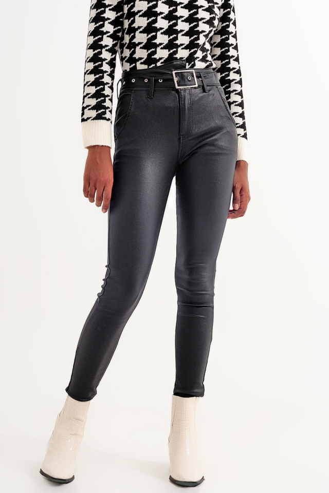 Shiny black faux leather pants with belt