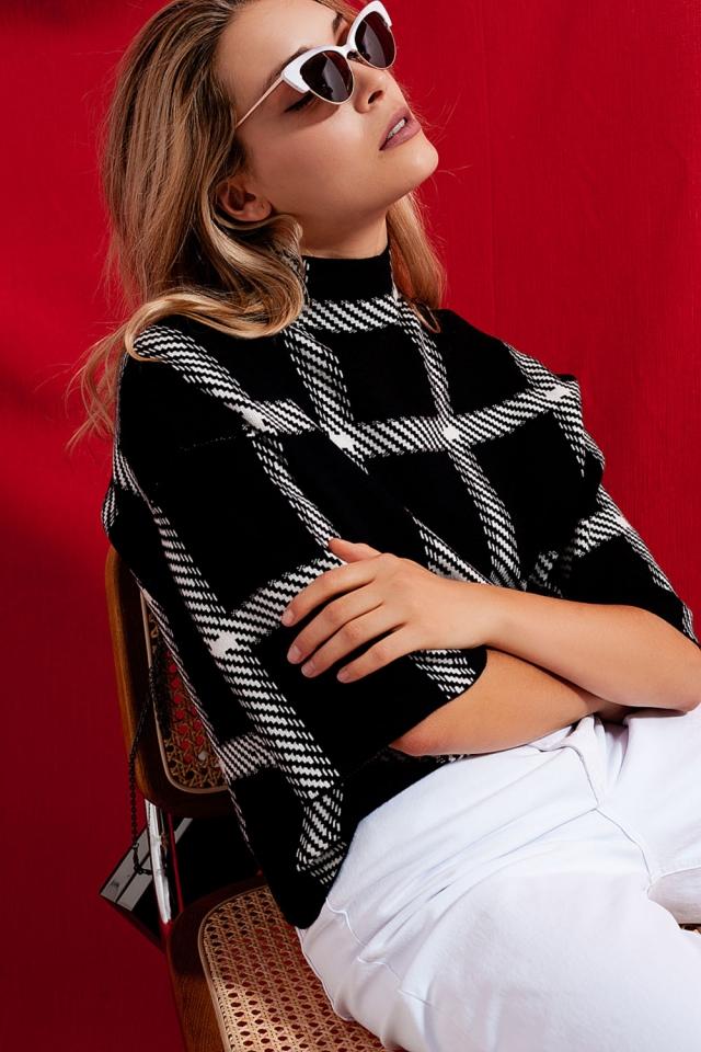 Karierter monochromer Pullover