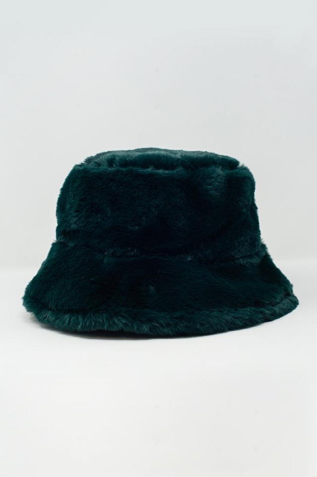 Anglerhut in Grün mit Wendeseite aus Teddyfell