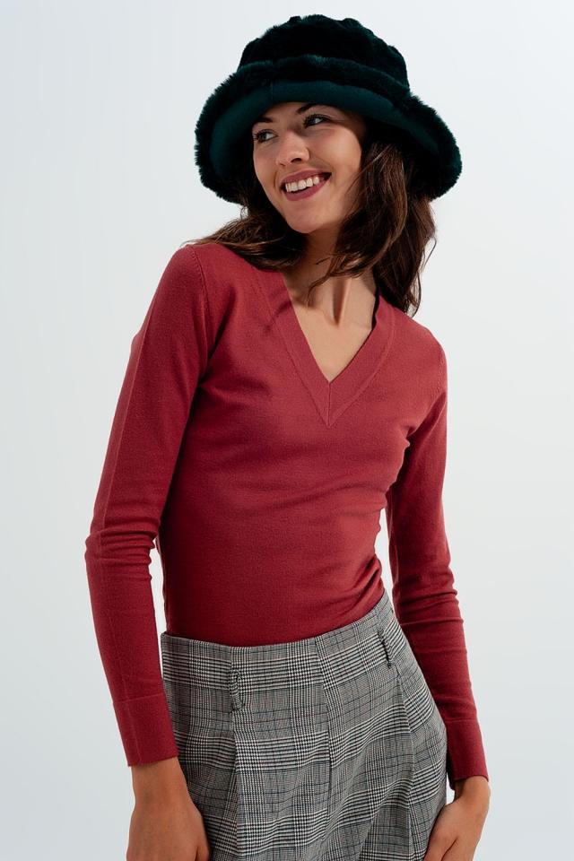 Pullover in Rost mit V-Ausschnitt