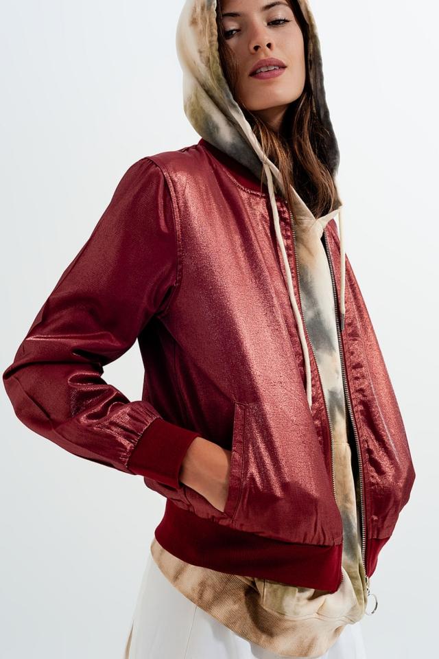 Tipped collar zip through bomber jacket in rust