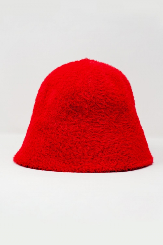 Red knitted bucket hat