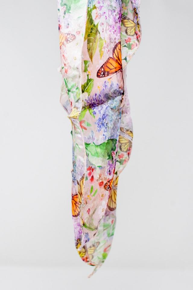 Rosa Schal mit Schmetterlingsdruck