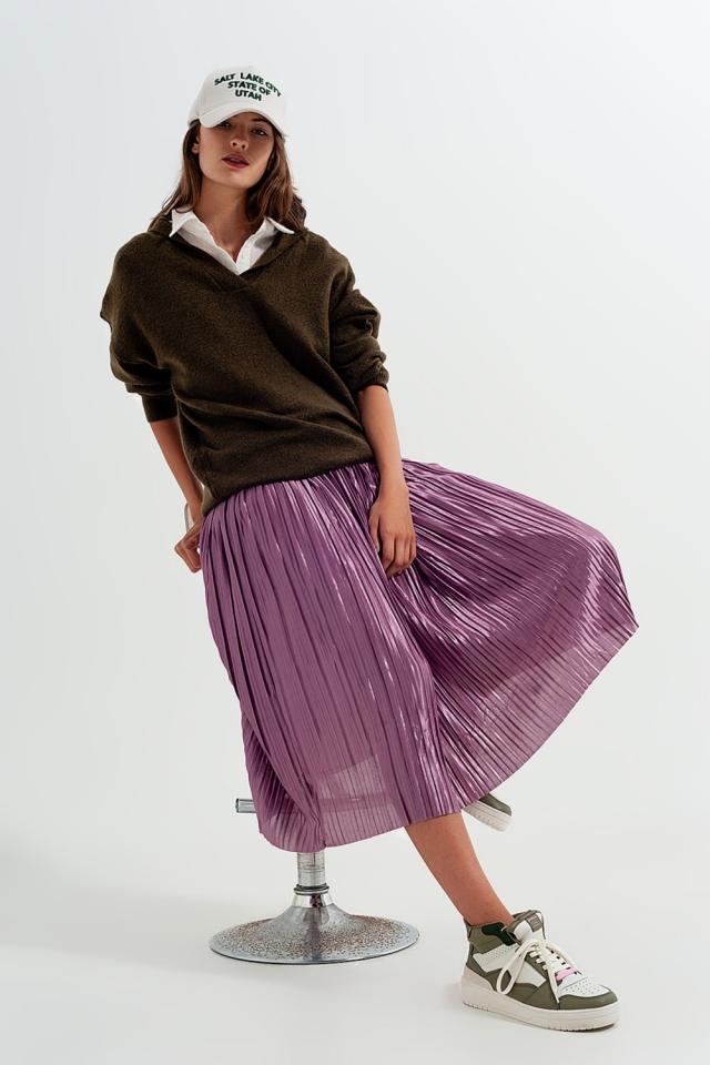 Shiny purple pleated midi skirt