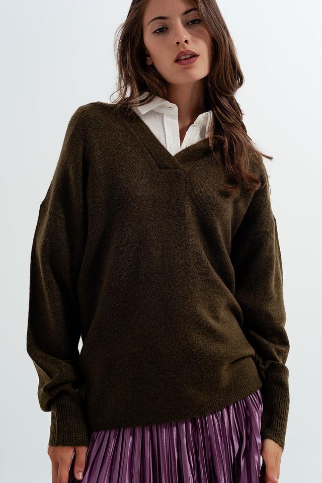 Pullover mit V-Ausschnitt in Grün