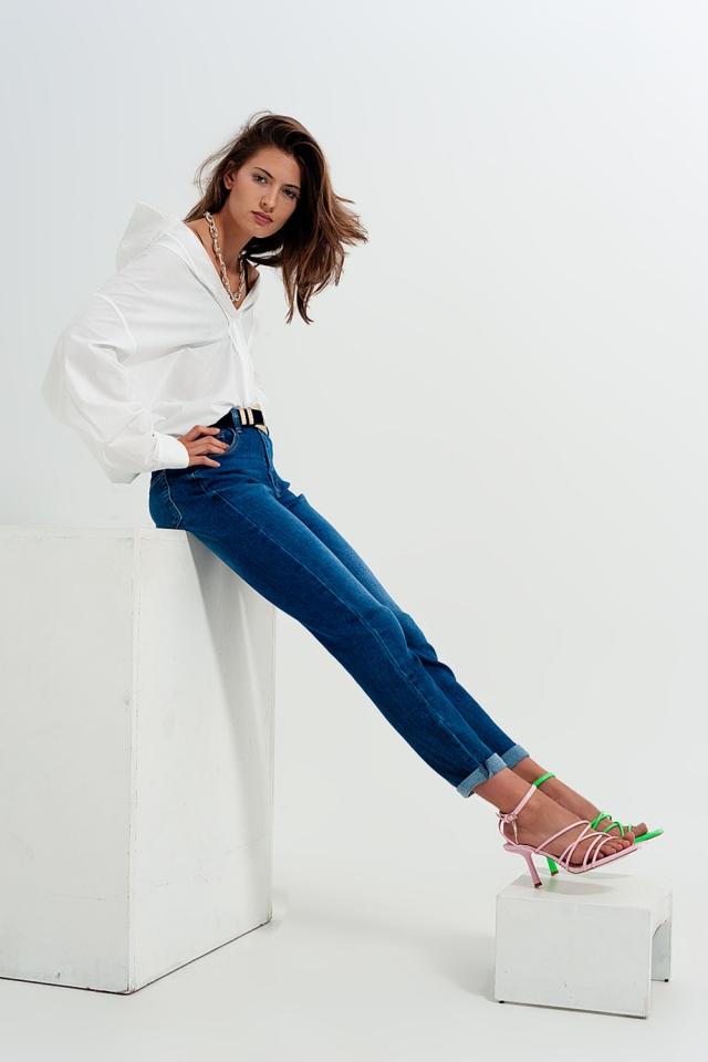 Enge Jeans aus Baumwollmix in Dunkelblau