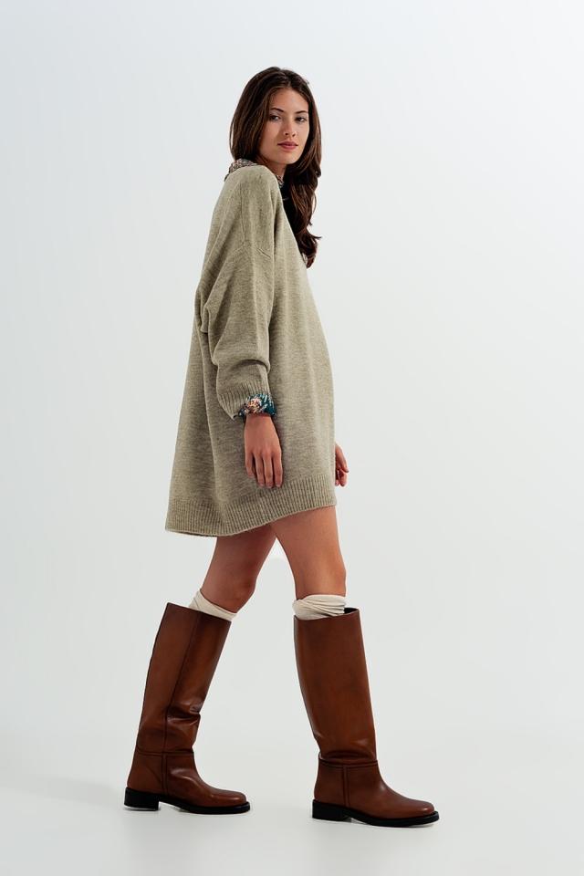 Knitted mini dress in khaki