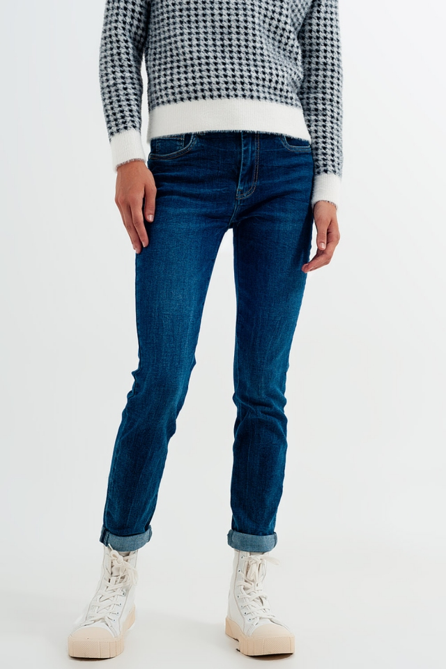 High waisted skinny jeans in mid blue wash