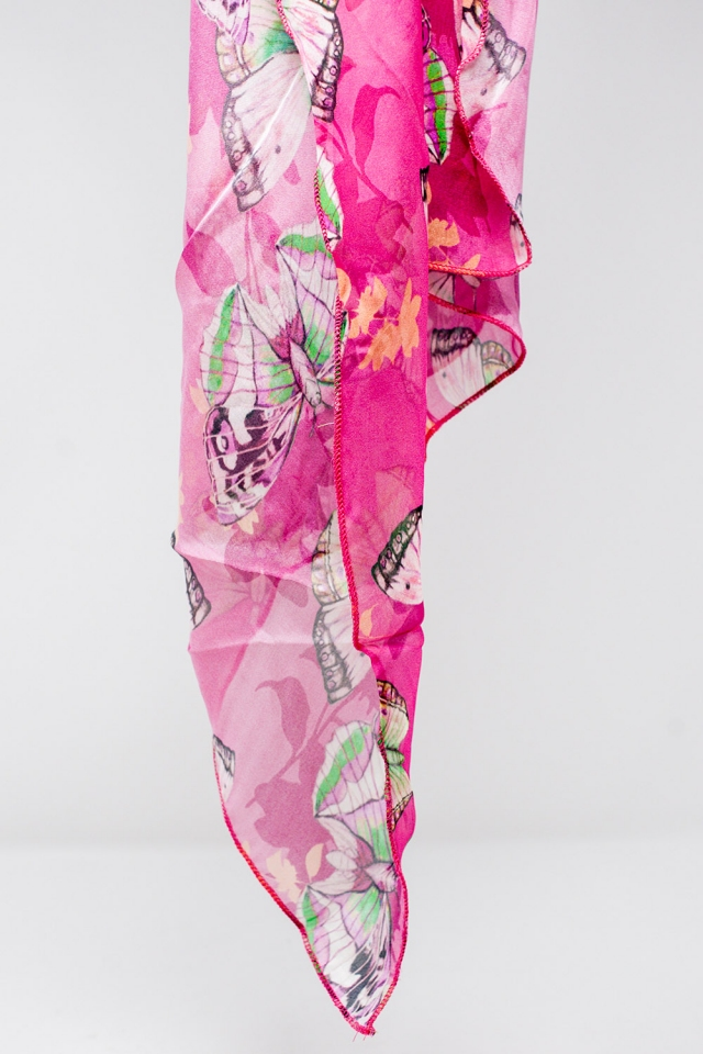 Fucsia silk scarf with butterflies print