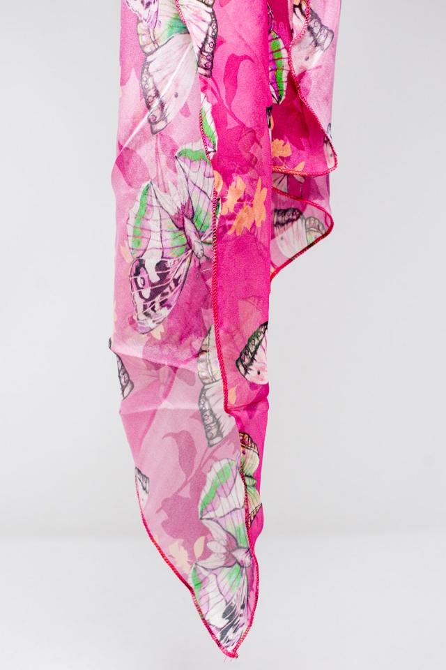 Fucsiafarbener Schal mit Schmetterlingsdruck