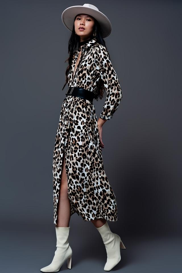 maxi shirt dress in leopard print