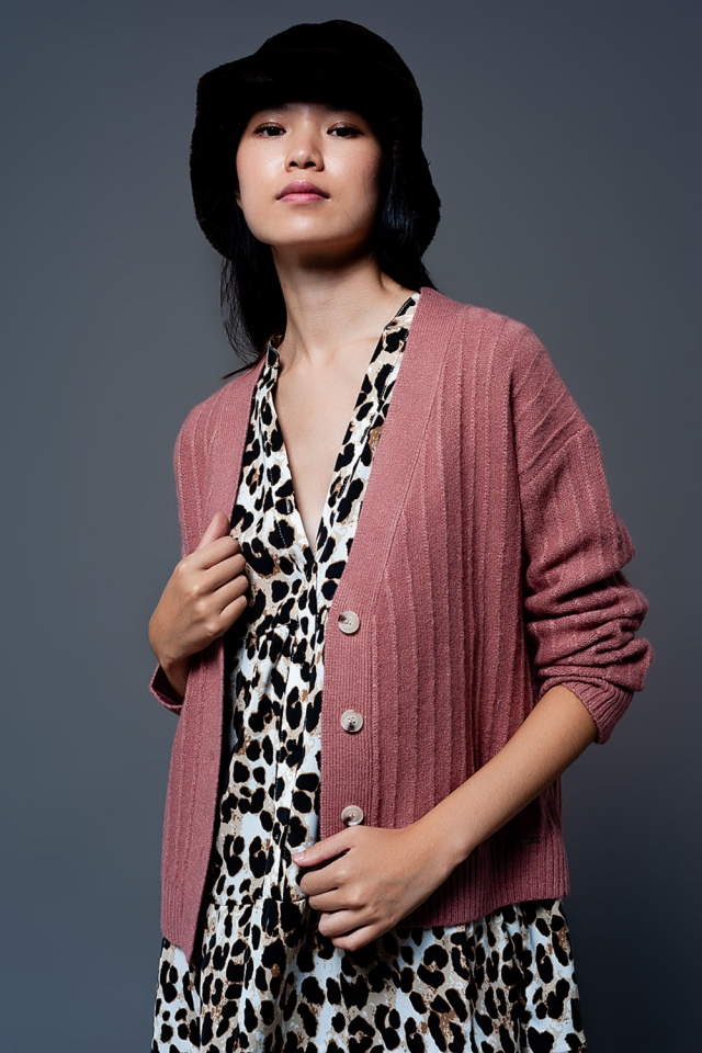 Cardigan with balloon sleeve in pink