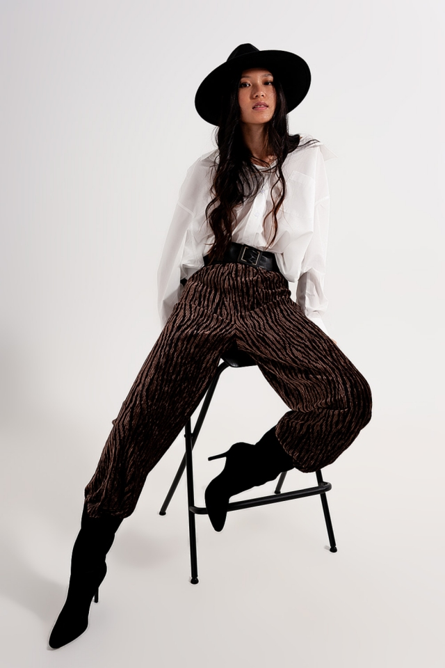 wide-leg print velvet pants