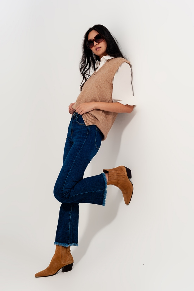 Tall high rise effortless kick flare jeans in vintage midwash