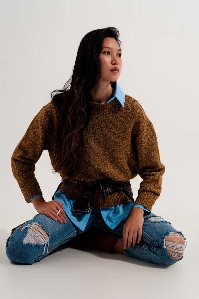 Mustard color mottled sweater with round collar