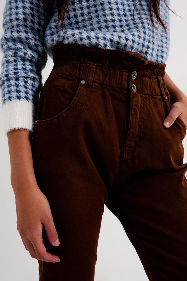 Elasticated paper bag waist mom jean in brown